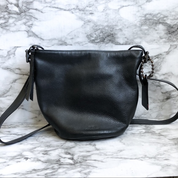 Coach Black Leather Crossbody Mini Bucket Bag